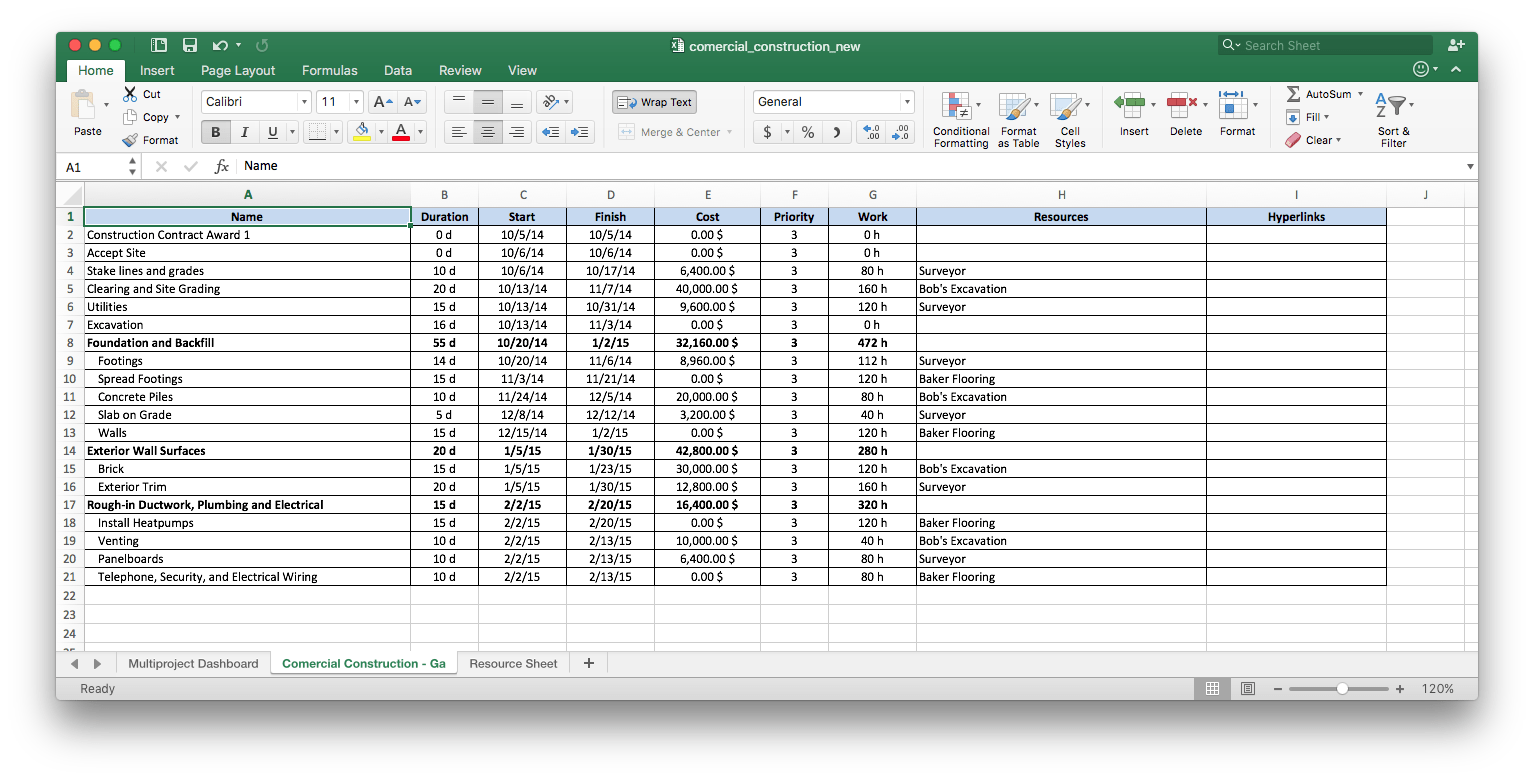 Importing Project Data From Ms Excel Into Conceptdraw