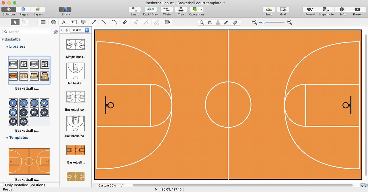 hight resolution of  basketball court diagram