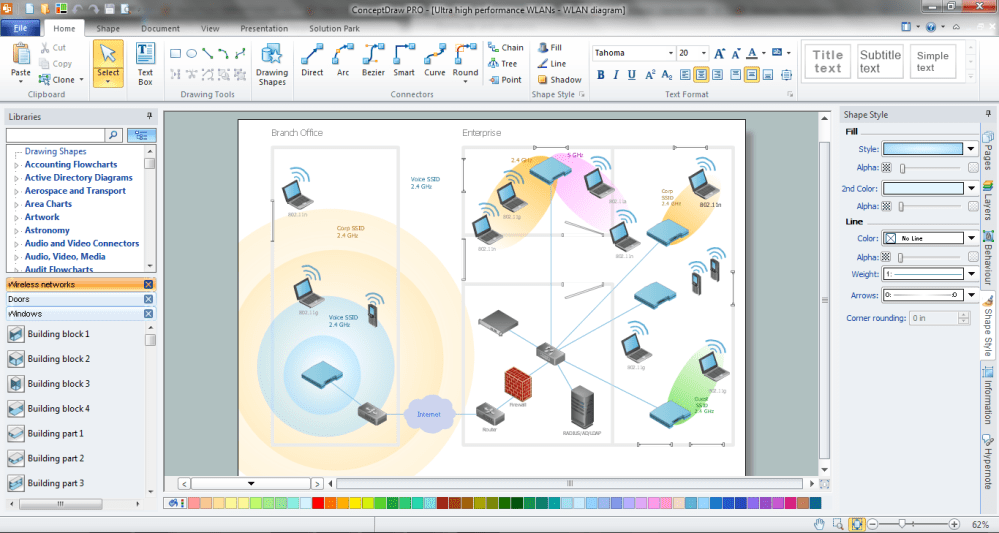 medium resolution of wireless networking in conceptdraw diagram title