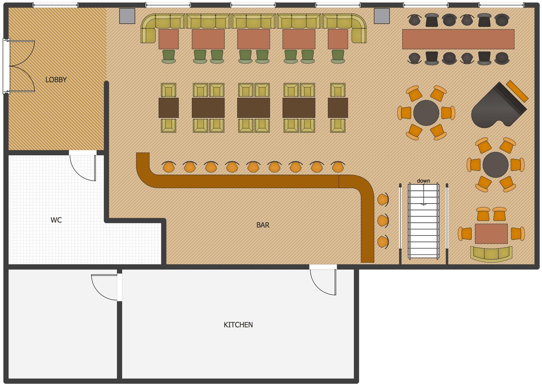 Cafe and Restaurant Floor Plan Solution  ConceptDrawcom