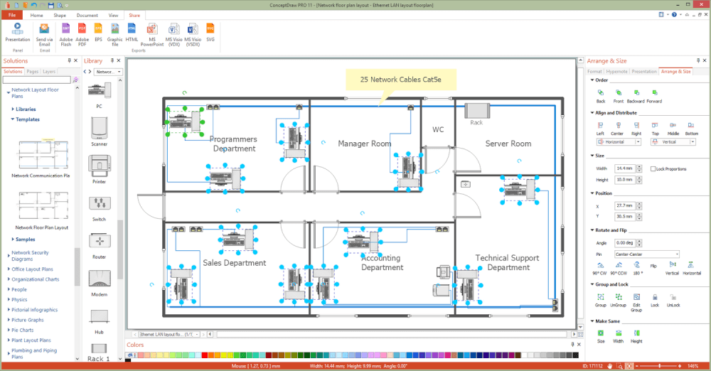 Free Network Wiring Diagram Software Network Layout Floor Plans Solution Conceptdraw Com