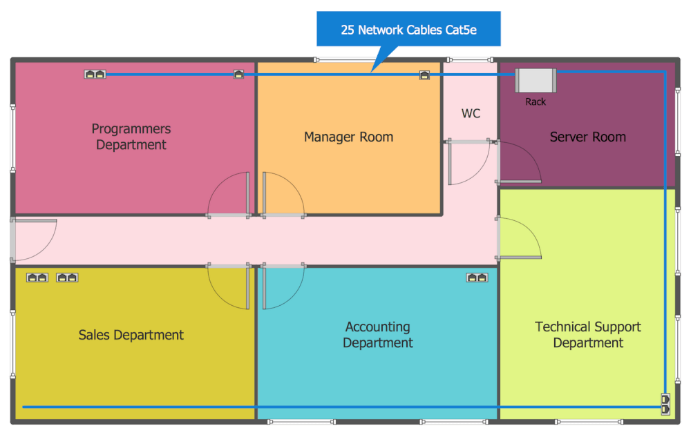 sample network diagram floor plan how to wire 3 lights one switch layout plans solution conceptdraw