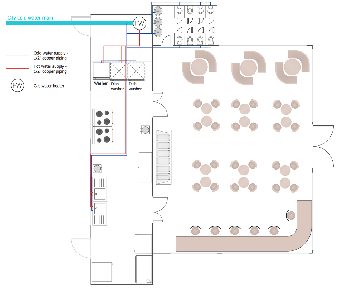 hight resolution of plumbing and piping plans solution conceptdraw com