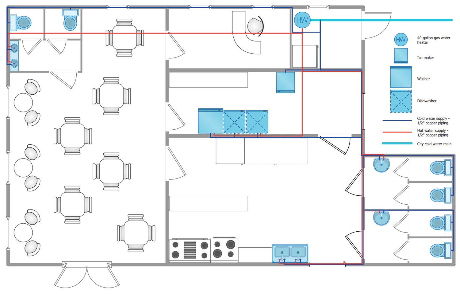 hight resolution of plumbing and piping plans solution conceptdraw com plumbing a house plumbing diagram examples