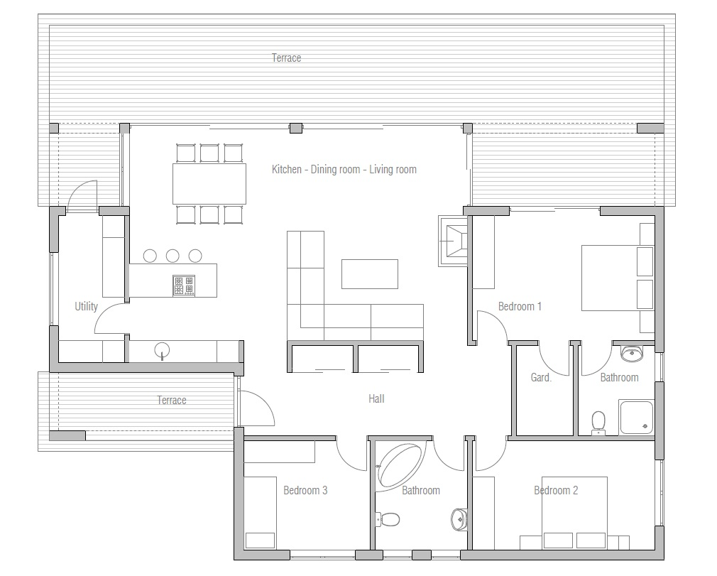 Small Contemporary House CH140 1F 130M 3B Great House Plan