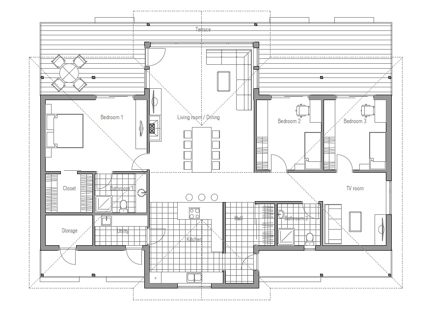 Small House plan CH86 with efficient room planning. House Plan