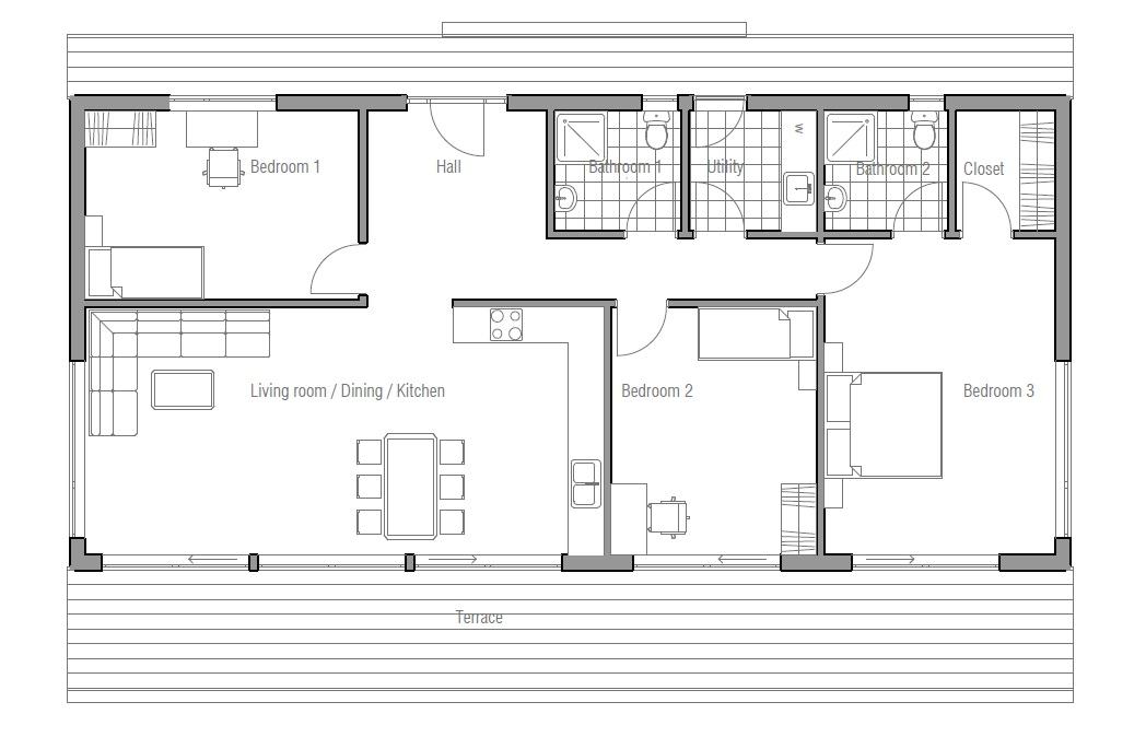 Small House plan CH64, small home floor plans & images