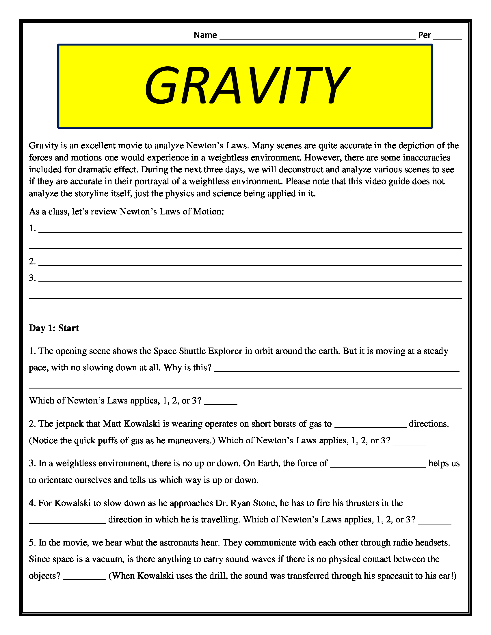 Gravity Movie Worksheet Pg 13