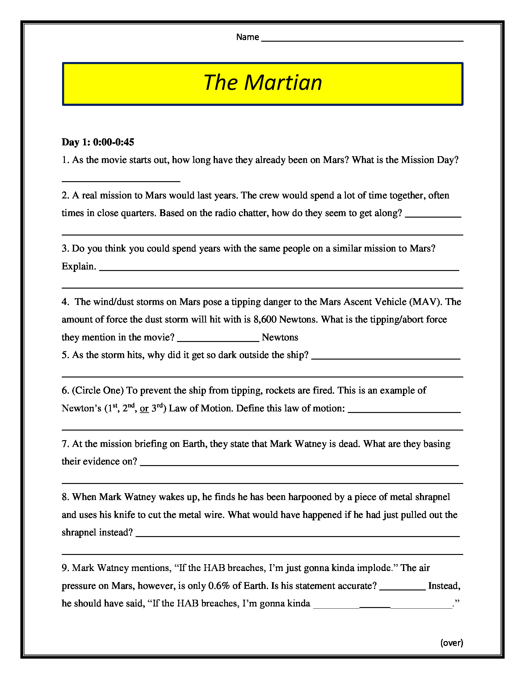 The Martian Movie Worksheet Pg 13