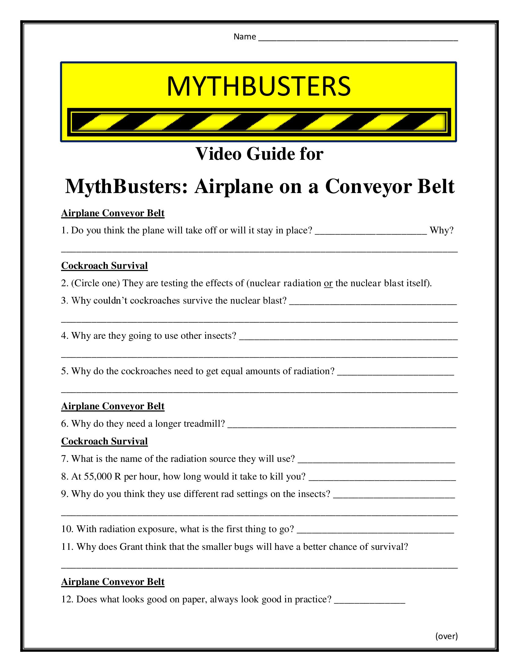 Mythbusters Airplane On A Conveyor Belt Worksheet Season 5
