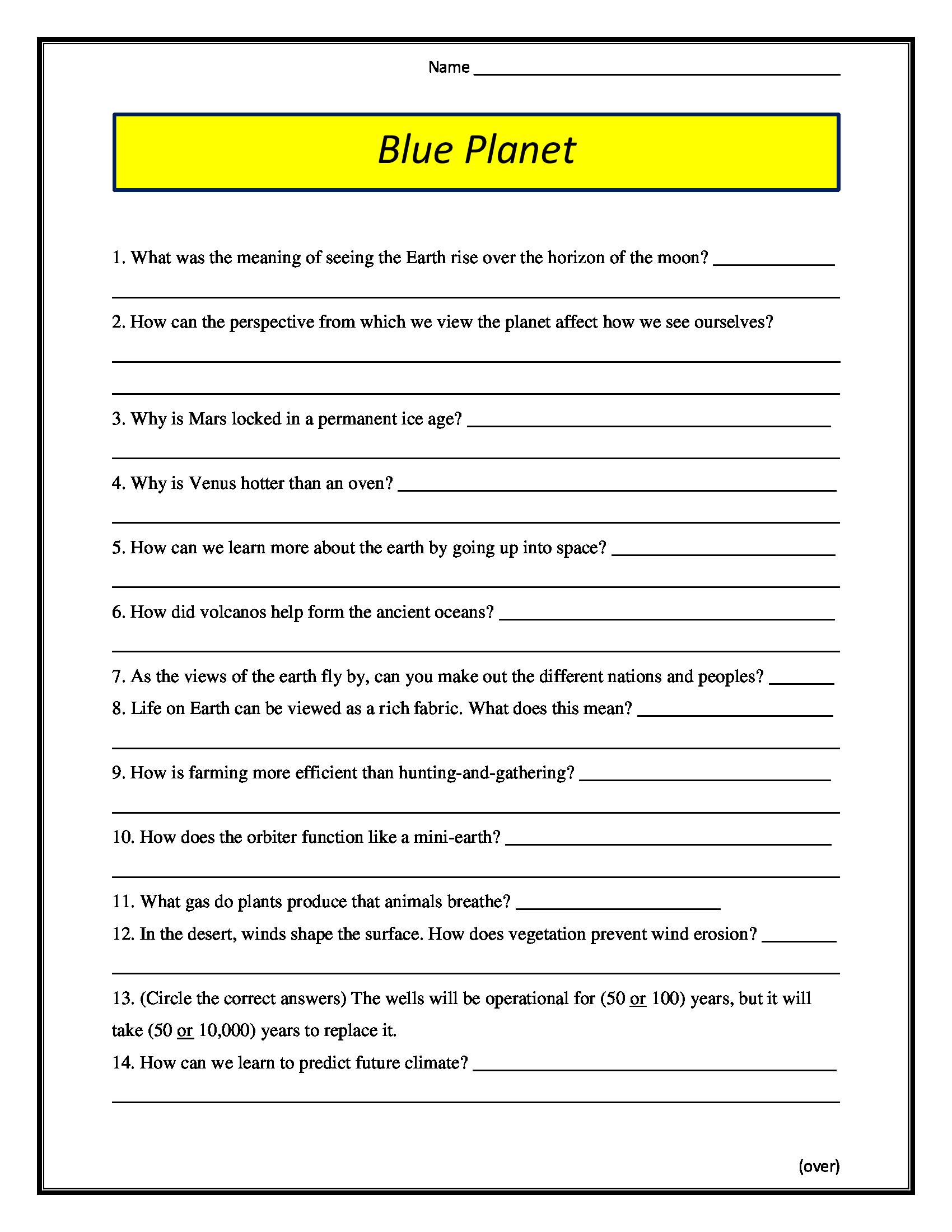 Blue Planet Worksheet