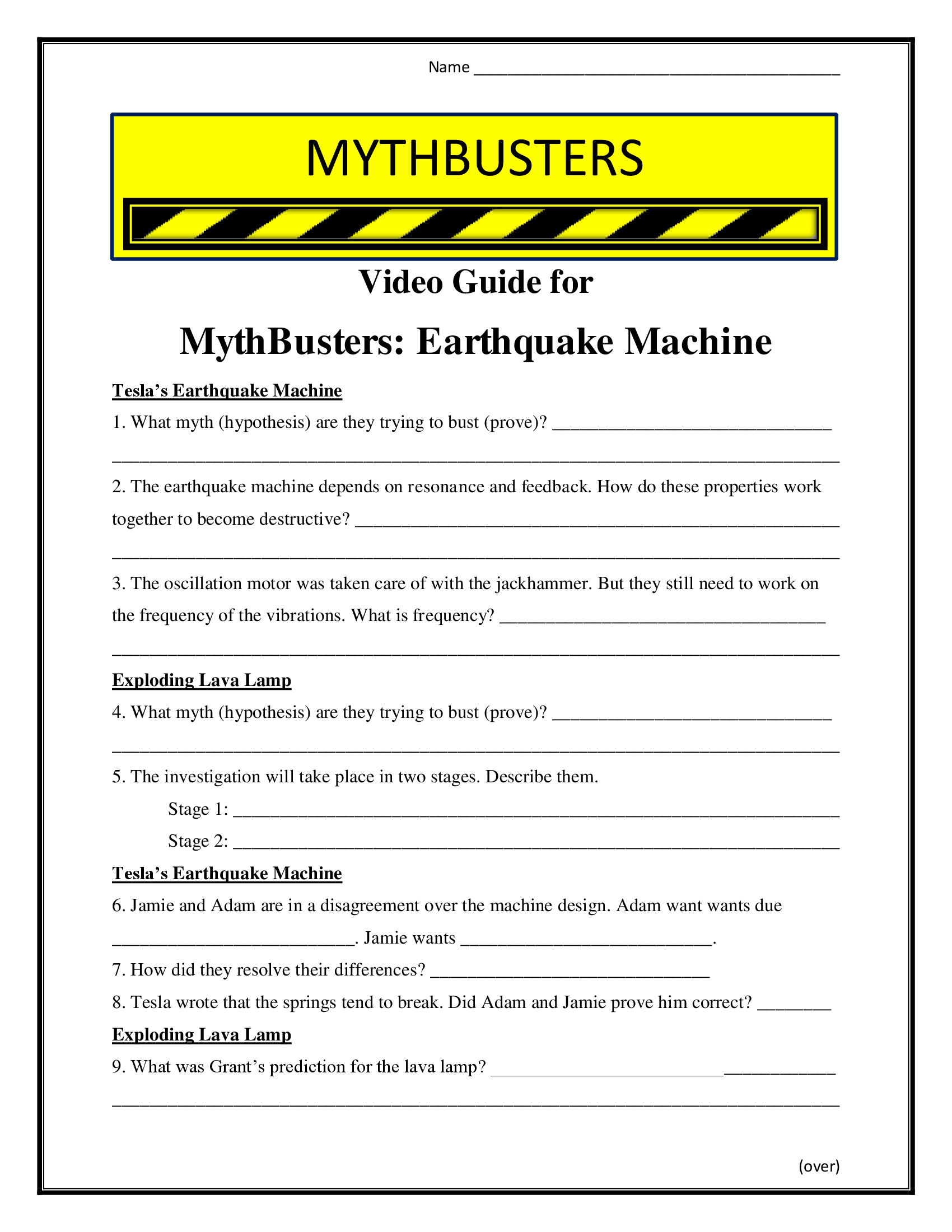 Mythbusters Earthquake Machine Worksheet Season 4