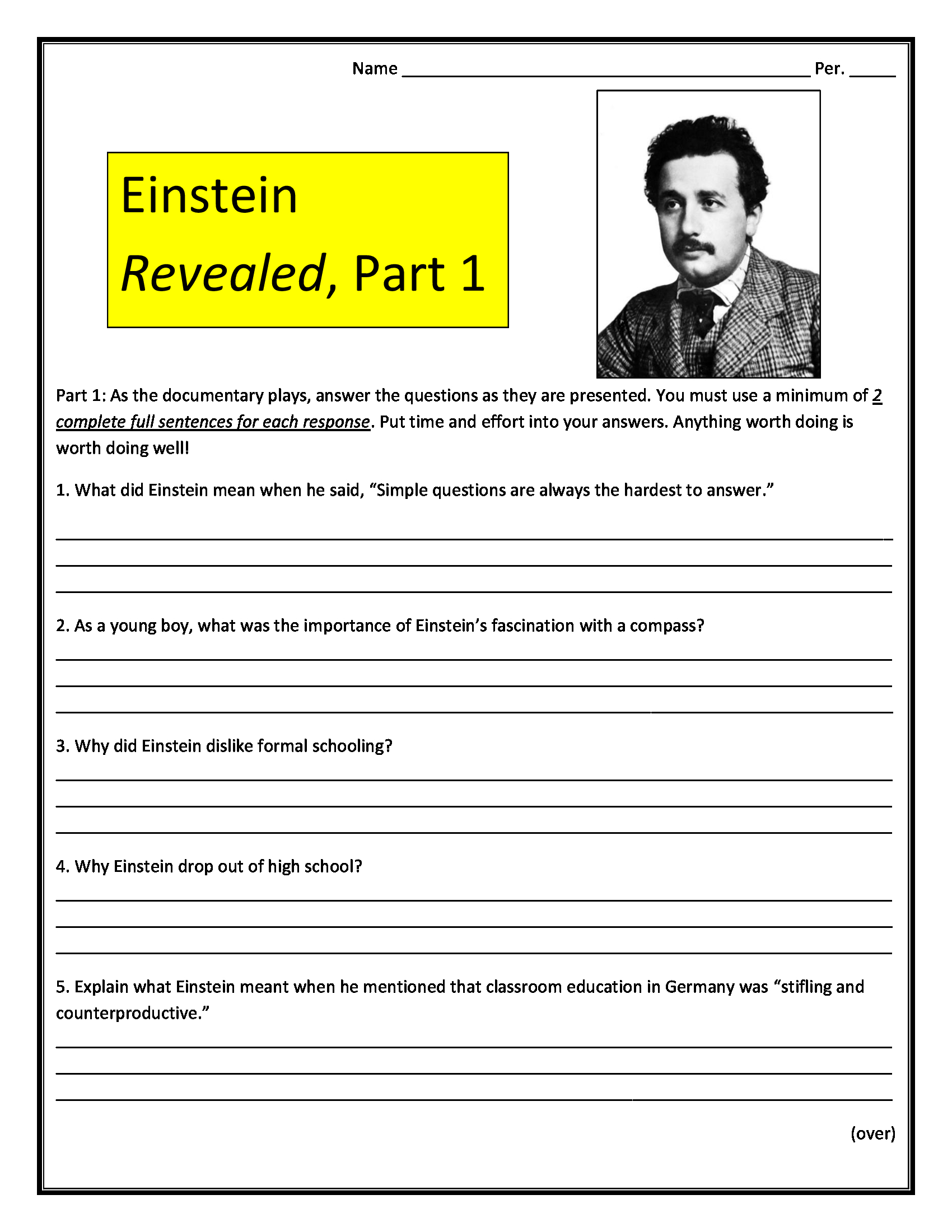 Einstein Revealed Part 1 Worksheet