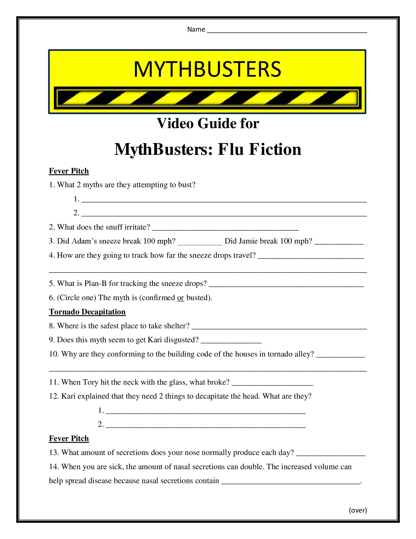 Mythbusters Flu Fiction Worksheet Season 7