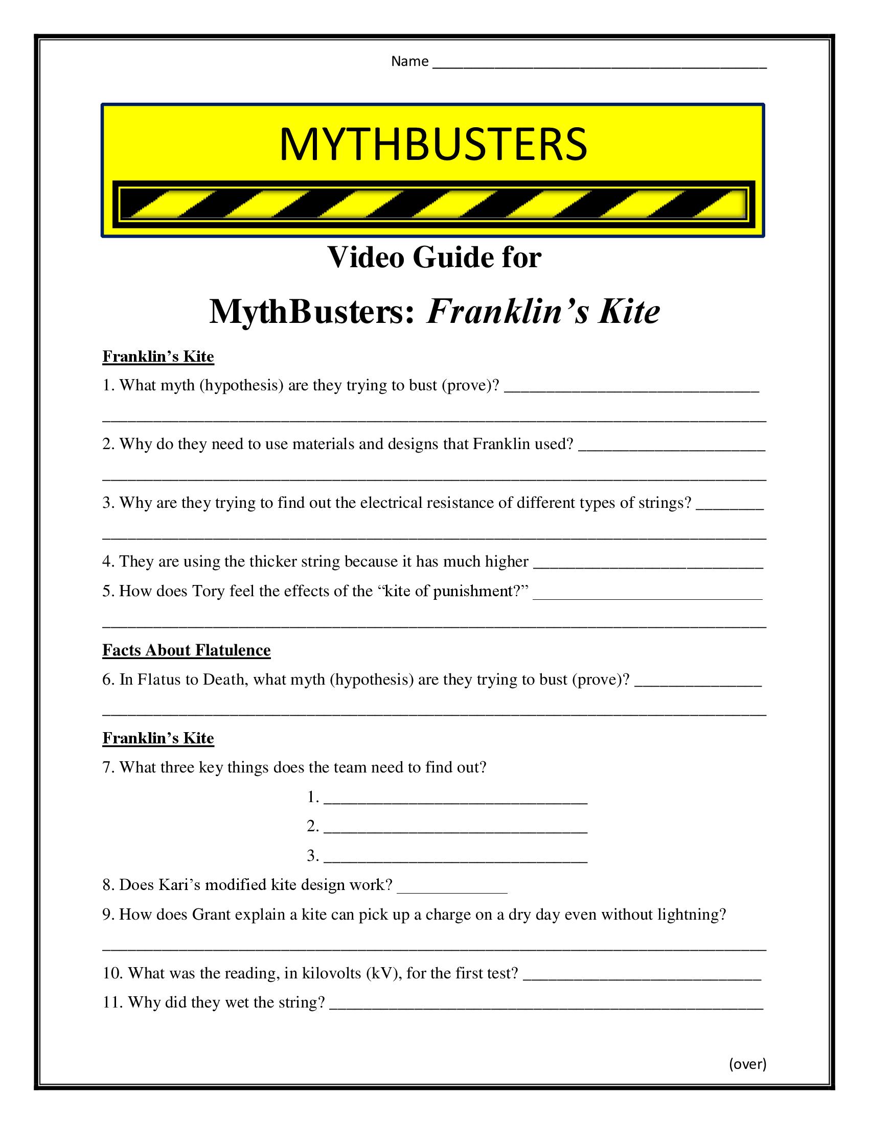 Mythbusters Franklins Kite Worksheet Season 4