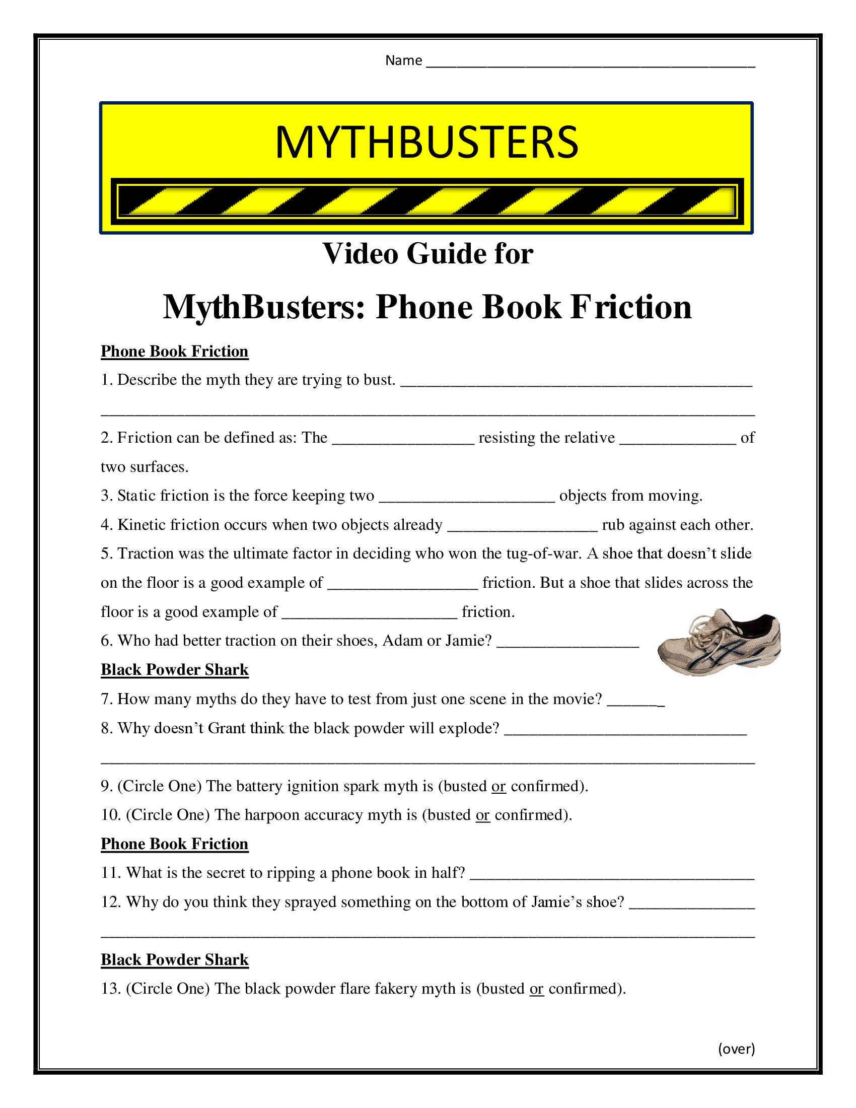 Mythbusters Phone Book Friction Worksheet Season 6
