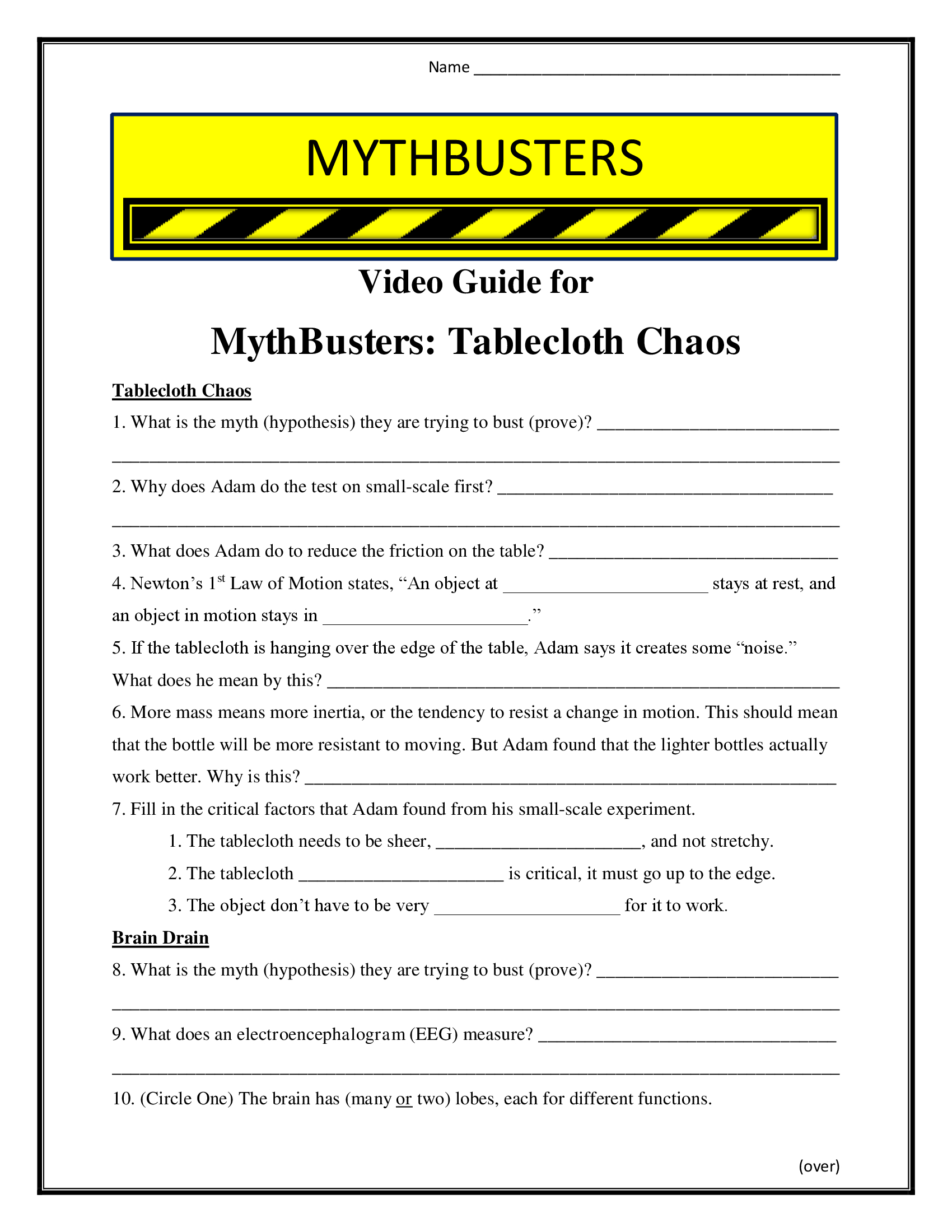 Mythbusters Table Cloth Chaos Worksheet Season 7