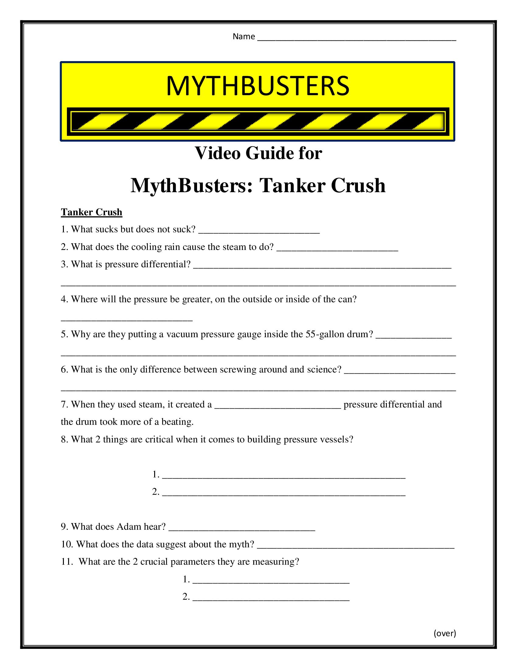 Mythbusters Tanker Crush Worksheet Season 11
