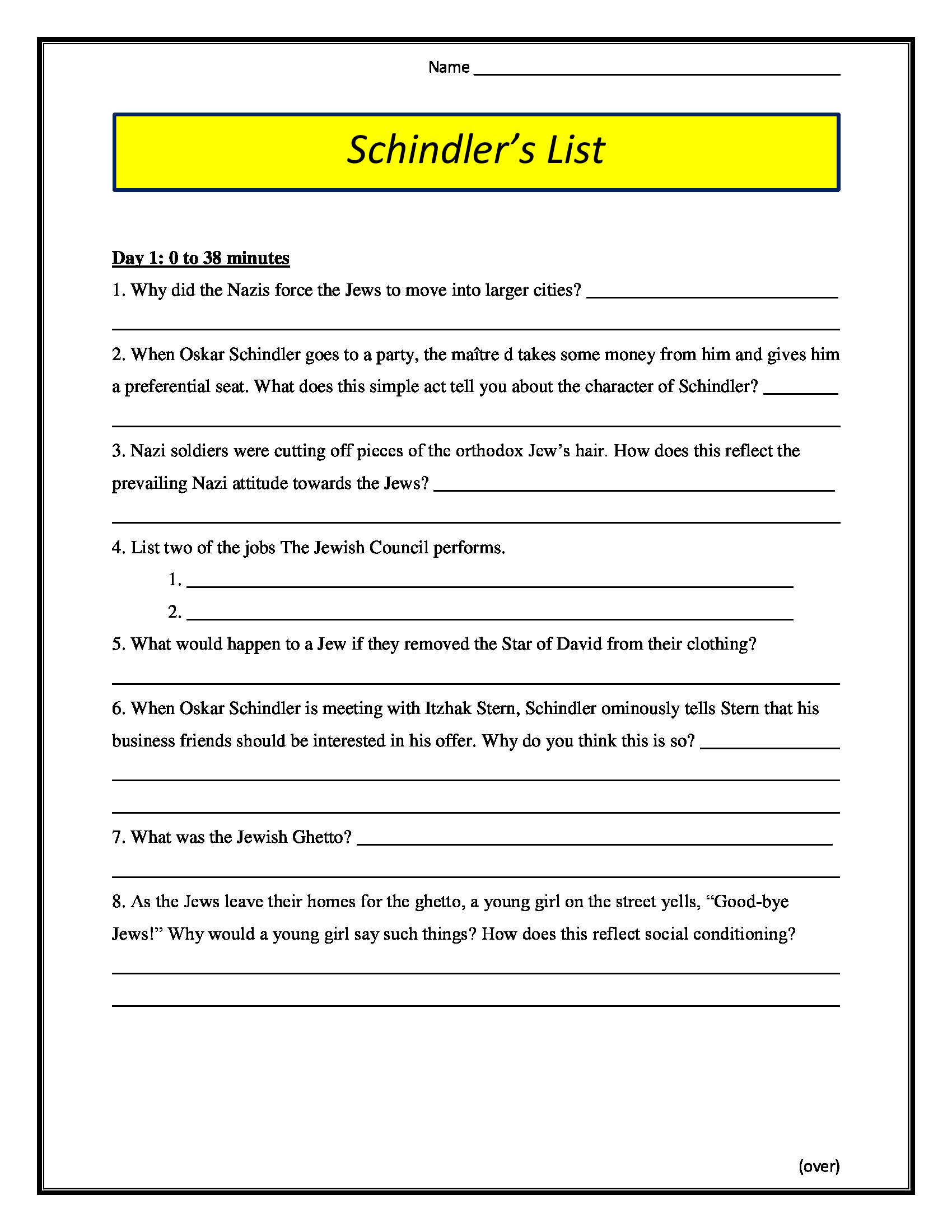 Schindler S List Movie Worksheet Rated R