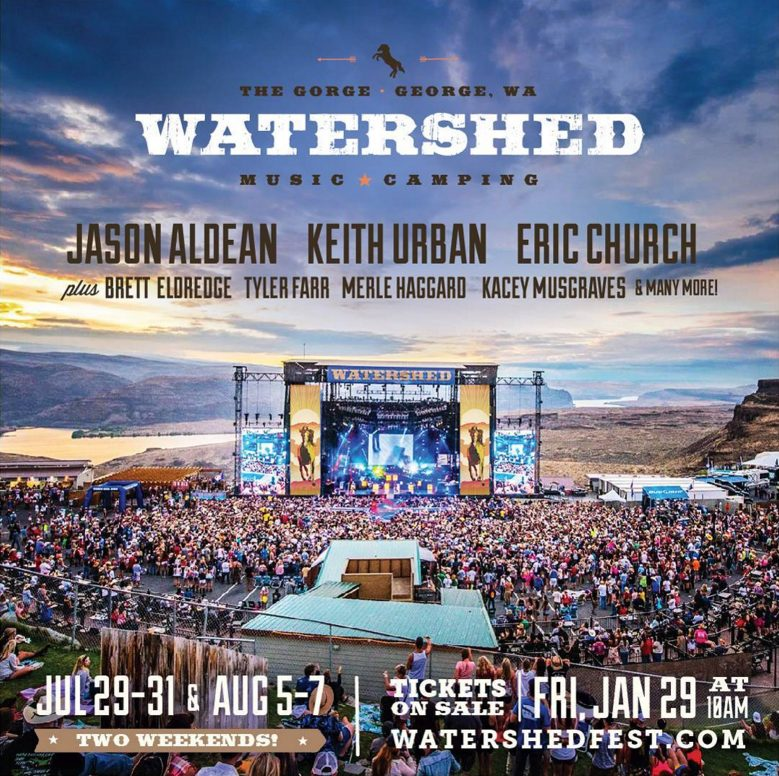 Watershed Music + Camping Festival 2016 at The Gorge lineup poster
