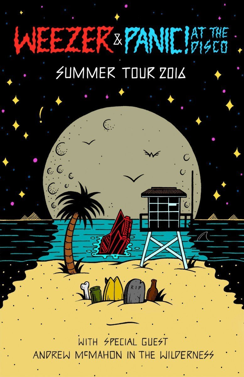 Weezer + Panic! At The Disco + Andrew McMahon in the Wilderness Tour Poster 2016
