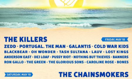 Lineup poster for Hangout Music Festival at Gulf Shores, Alabama on May 18th - 20th, 2018
