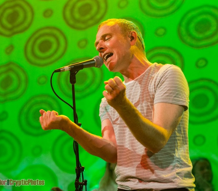 Stuart Murdoch of Belle and Sebastien performing at The Vogue Theatre in Vancouver, BC on June 28th, 2018. Photo by Jamie Taylor