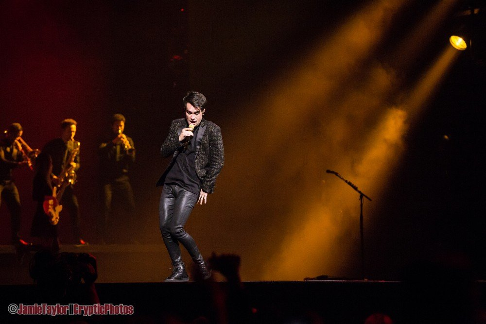 """Singer Brendon Urie of Panic! At The Disco performing during the """"Pray For The Wicked"""" Tour at Rogers Arena in Vancouver, BC on August 11th 2018"""