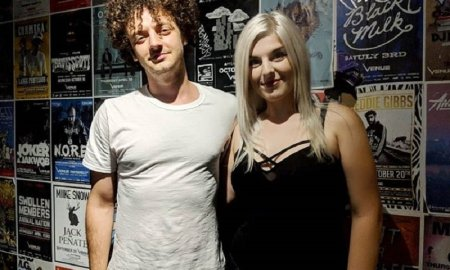 Musician Jordan Edward Benjamin of grandson with journalist Bri Elizibeth of Concert Addicts at Venue Nightclub in Vancouver, BC on September 6th, 2018