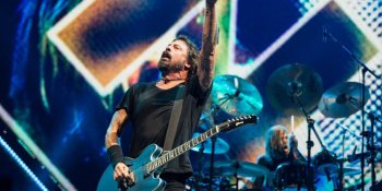 Musician Dave Grohl of Foo Fighters performing at Rogers Arena in Vancouver, BC on September 8th, 2018
