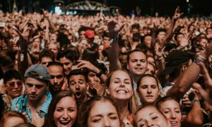 The crowd at Austin City Limits Music Festival 2018 at Zilker Metropolitan Park in Austin, Texas on October 5th-7th, 2018