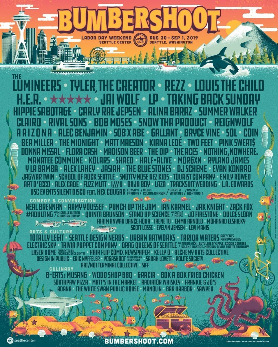 Bumbershoot Music Festival in Seattle 2019 - lineup poster