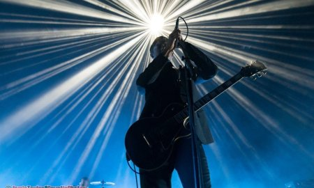 Musician Paul Banks of American rock band Interpol performing at Queen Elizabeth Theatre in Vancouver, BC on January 31st, 2019