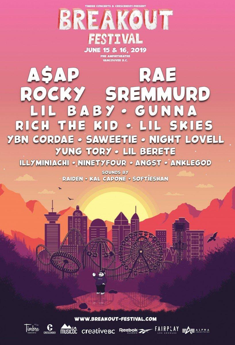 Breakout Festival 2019 @ PNE Amphitheatre (Vancouver) lineup poster