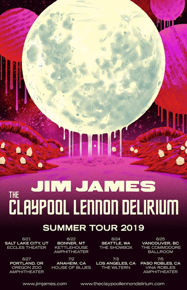 Jim James + The Claypool Lennon Delirium 2019 summer tour poster