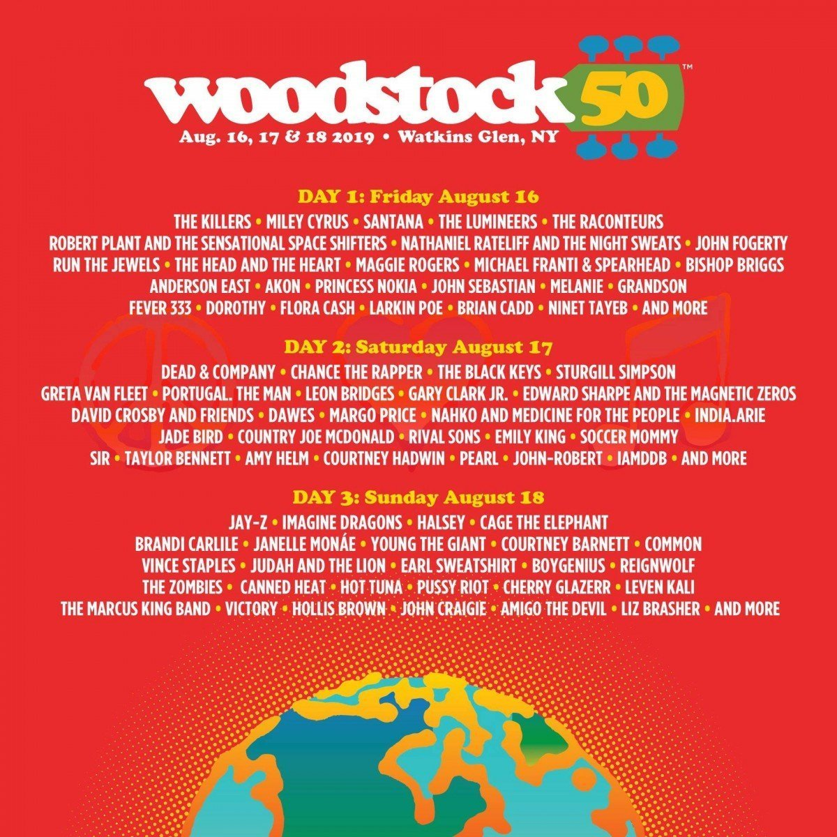 Woodstock 50 , new york, poster lineup, August 16–18, 2019