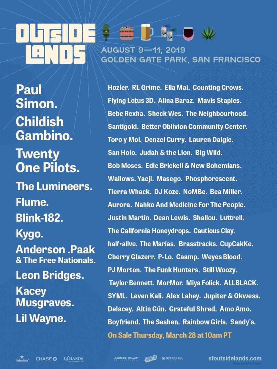 Outside Lands 2019 at Golden Gate Park (San Francisco) lineup poster admat