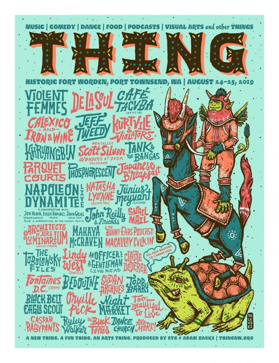 Thing music festival at Historic Fort Worden (Washinton State) lineup poster - August 24th-25th, 2019