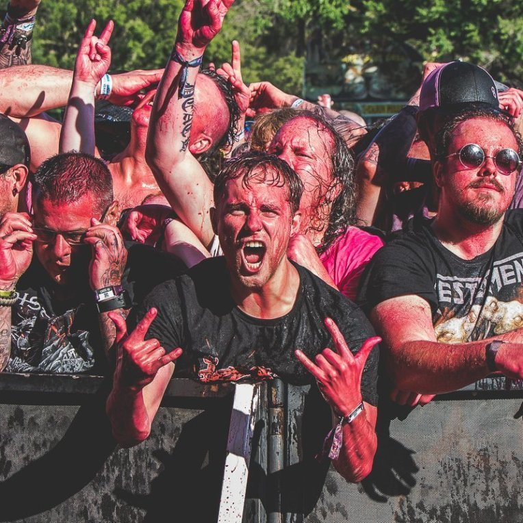 Excited concert goer at the Chaos AB music festival in Kinsmen Park in Edmonton, AB on July 26th 2019