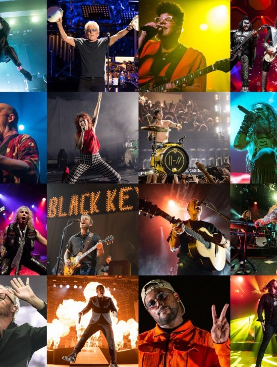 Year-end 2019 summary photo collage for Jamie Taylor of ConcertAddicts.com