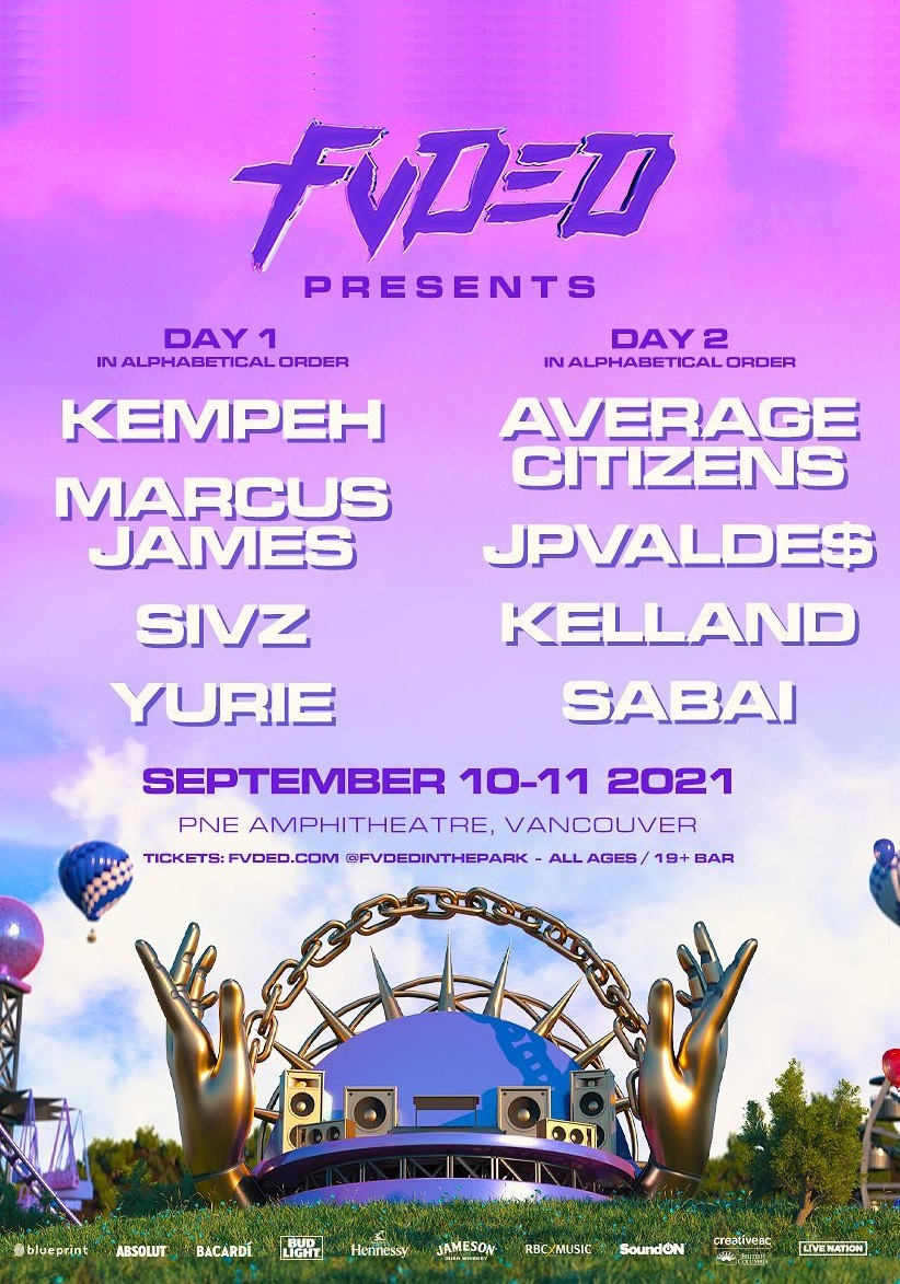 fvded in the park 2021 lineup poster