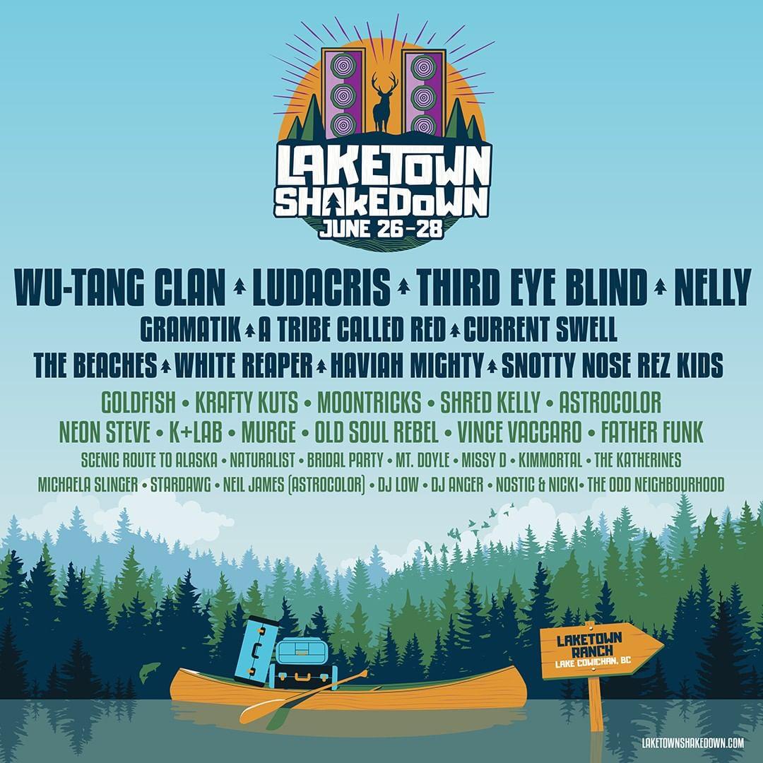 Laketown Shakedown 2020 @ Laketown Ranch (Lake Cowichan, BC) lineup poster admat banner
