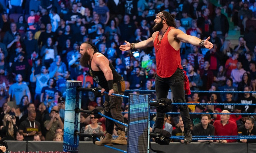 Wrestlers Elias and Braun Strowmand at WWE Smackdown at Rogers Arena in Vancouver, BC on February 14 2020