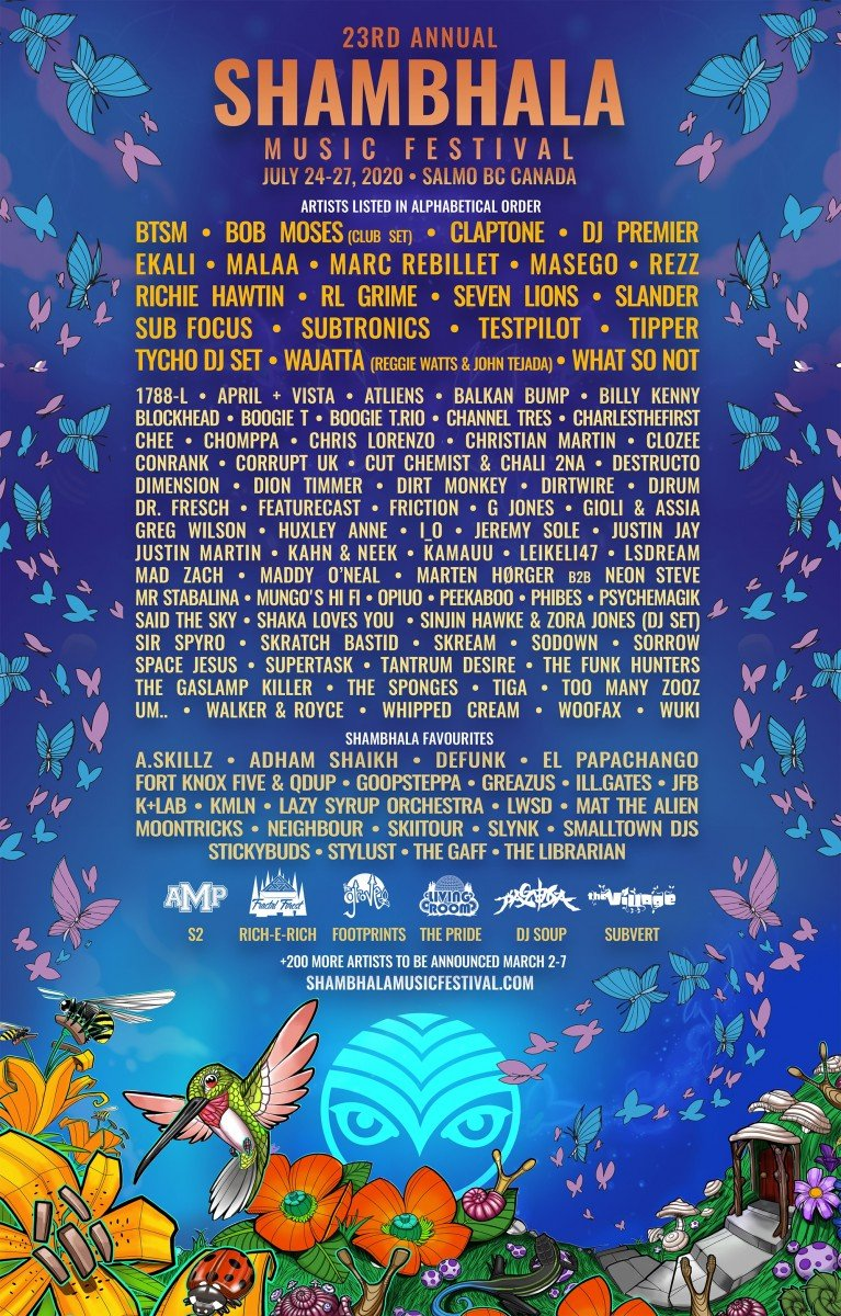 Shambhala Music Festival 2020 @ Salmo River Ranch (Salmo, BC) - lineup poster admat banner