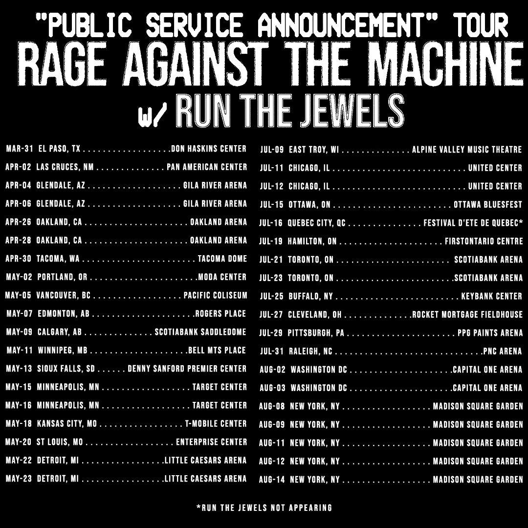 rage against the machine public service announcement tour 2022 schedule dates poster