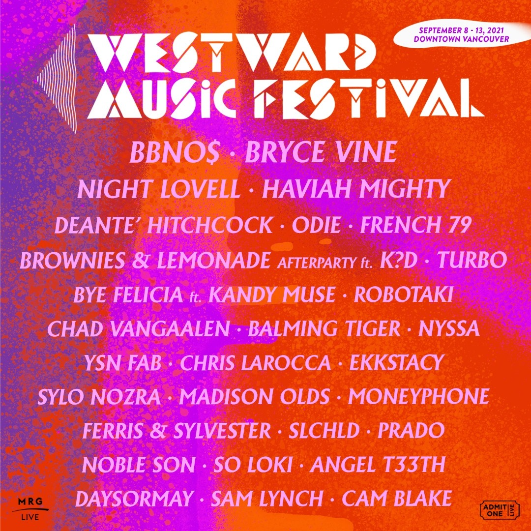 westward music festival 2021 vancouver bc lineup poster