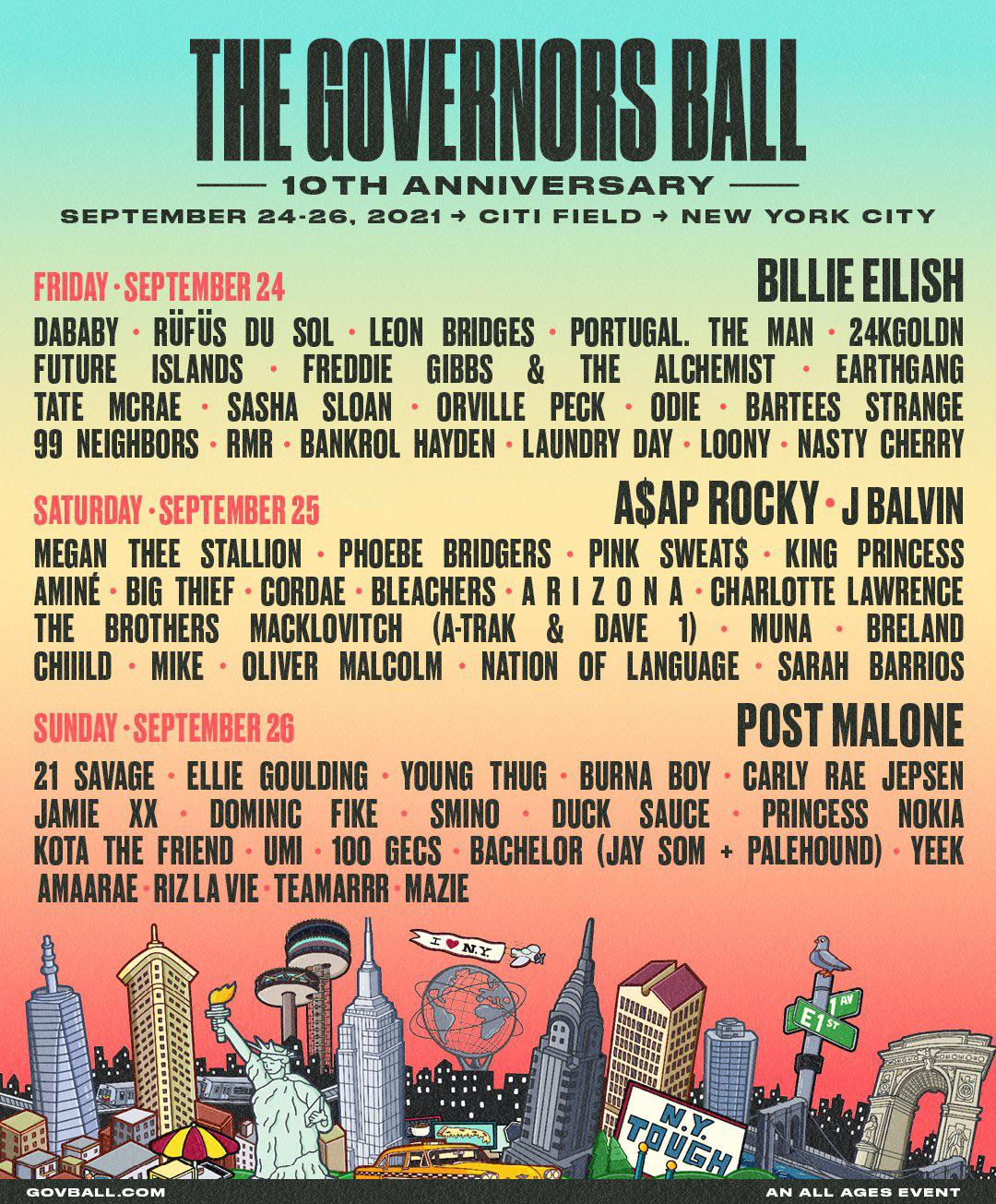 The governors ball music festival 2021 lineup poster admat