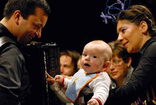 accordion and baby happy