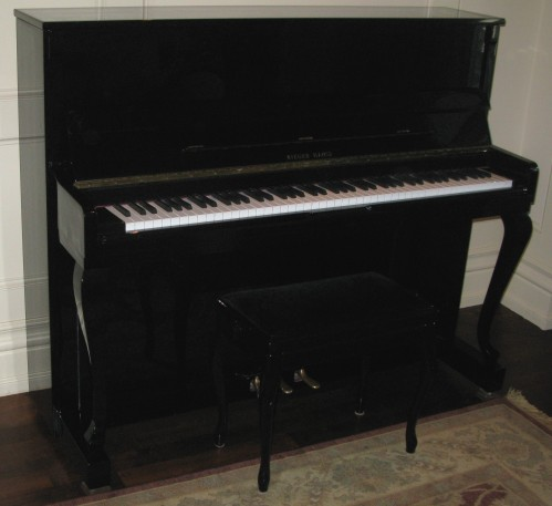 Rieger Kloss 122 Demi Chippendale Upright Piano For Sale