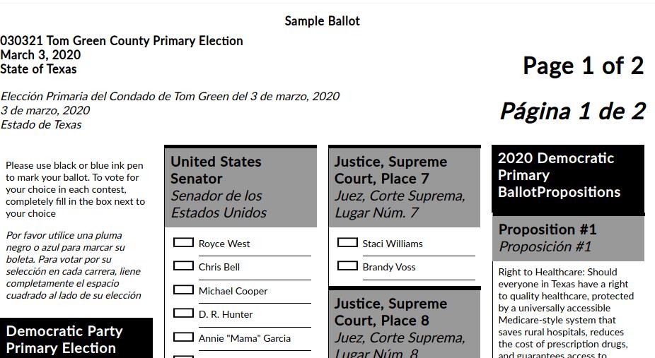 Democratic Primary Sample Ballot